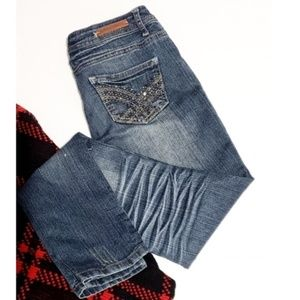 3/$30 almost famous distressed skinny jeans size 5